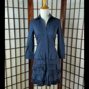 BCBGMAXAZRIA Oxford Blue Tiered Shirt Dress